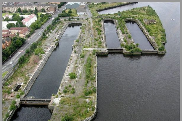 Bird's eye view on the Govan docks