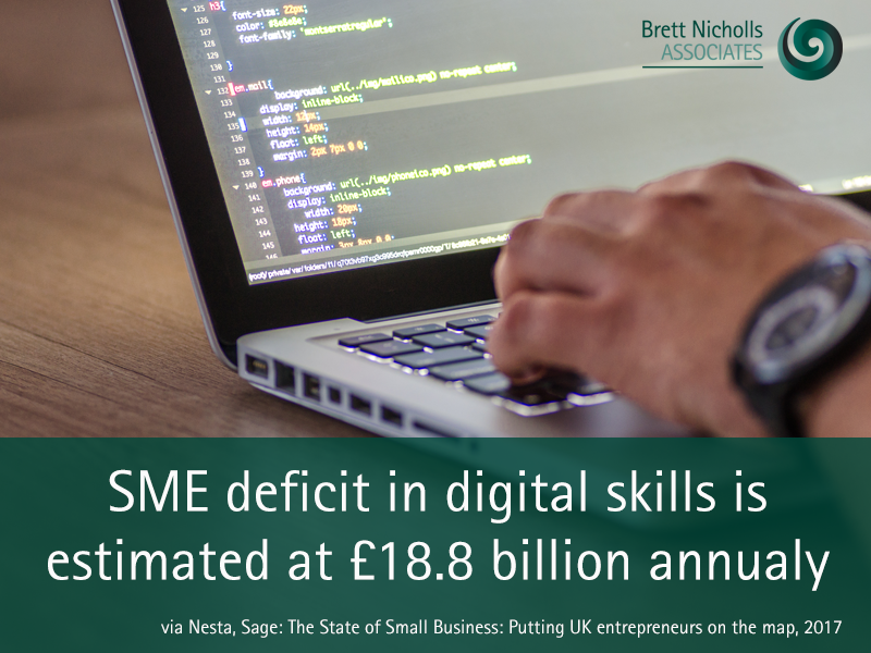 SME deficit in digital skills is estimated at 18.8 billion in foregone turnover