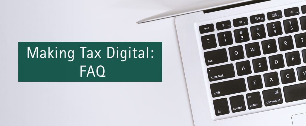 cover image of a laptop and text Making Tax Digital: Frequently Asked Questions