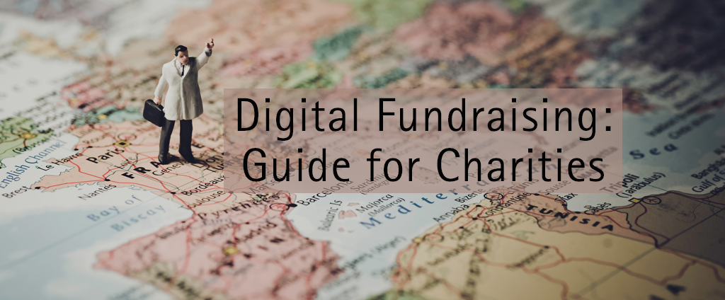 cover photo, map with a text - digital fundraising blog for charities