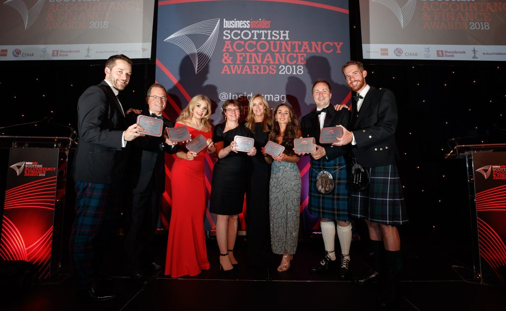 Accountancy and Finance Awards 2018 Glasgow, group photo of winners