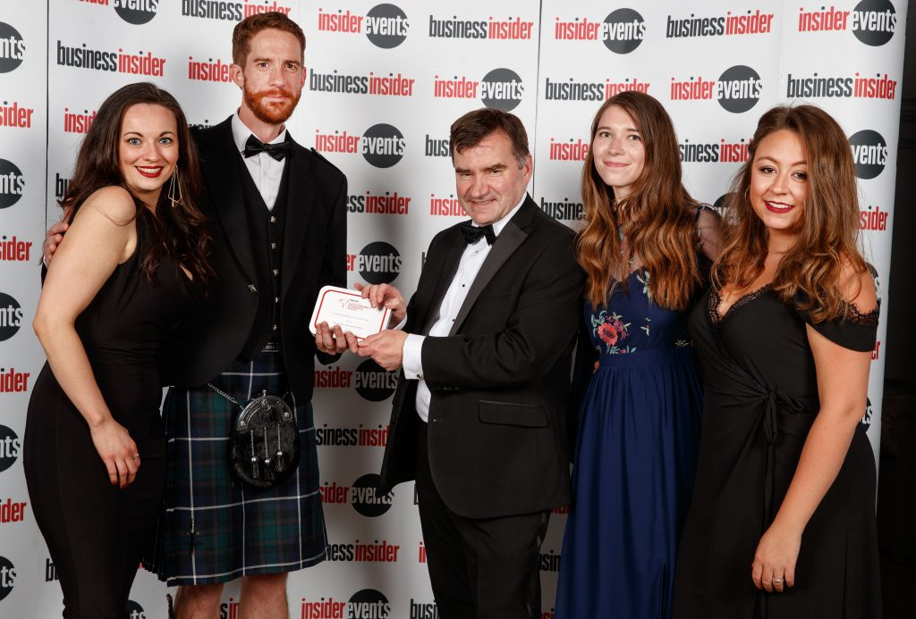 Accountancy and Finance Awards 2018 Glasgow Small Firm of the Year Award l-r Mhairi Galbraith, David Nicholls, Ken Symon, Sandra Kempele and Nicolle Campbell.